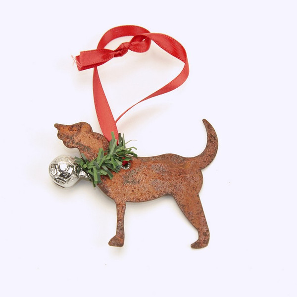 Rusty Tin Dog Ornament with silver bell