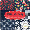 Shine On - Navy Fat Quarter Bundle (6 pcs) by Bonnie and Camille for Moda (BC.SO.NA.FQ)