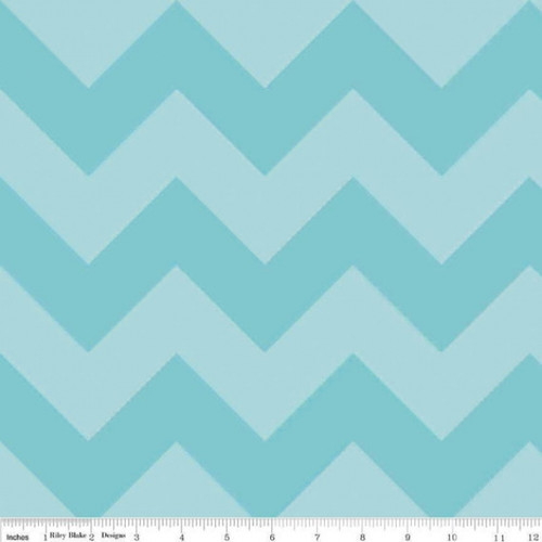 Chevrons Large - Chevron - Tone on Tone - Aqua (C390-24) by The RBD Designers for Riley Blake PRICE PER HALF YARD