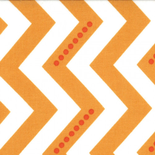 Simply Color - Dotted Zig Zag - White Sweet Tangerine (10804 16) by V and Co. for Moda PRICE PER HALF YARD