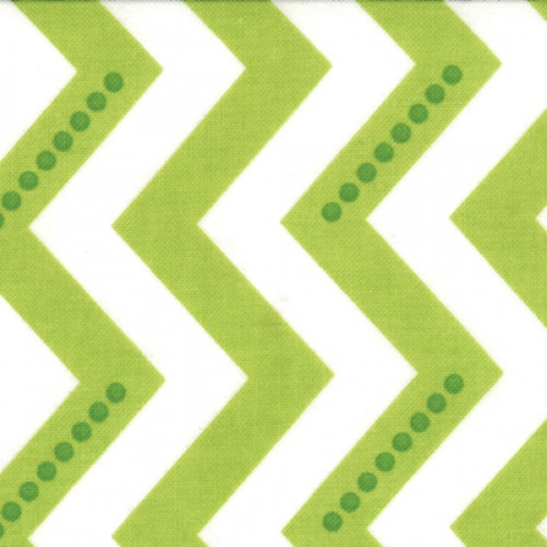 Simply Color - Dotted Zig Zag - White Lime Green (10804 18) by V and Co. for Moda PRICE PER HALF YARD