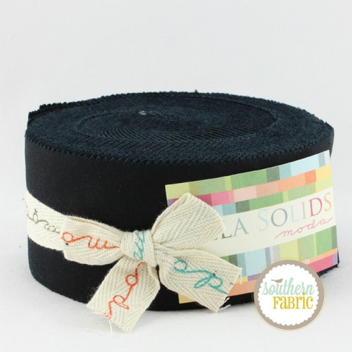 Bella Solids Black - Jelly Roll (9900JR 99) by Moda House Designer for Moda