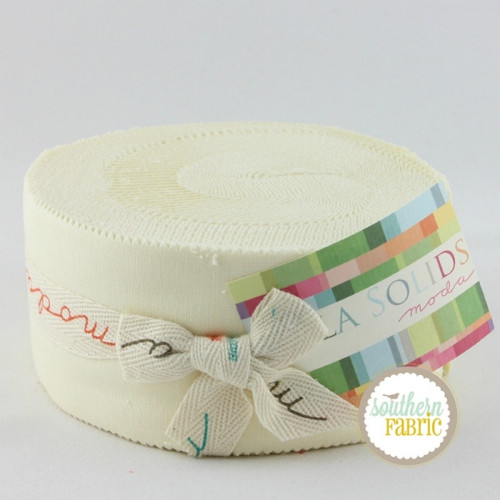 Bella Solids Snow - Jelly Roll (9900JR 11) by Moda House Designer for Moda