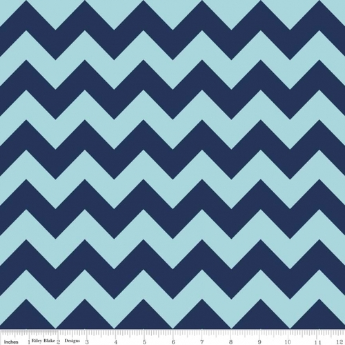 Chevrons Medium - Chevron - Tone on Tone - Navy (C380-23) by The RBD Designers for Riley Blake PRICE PER HALF YARD