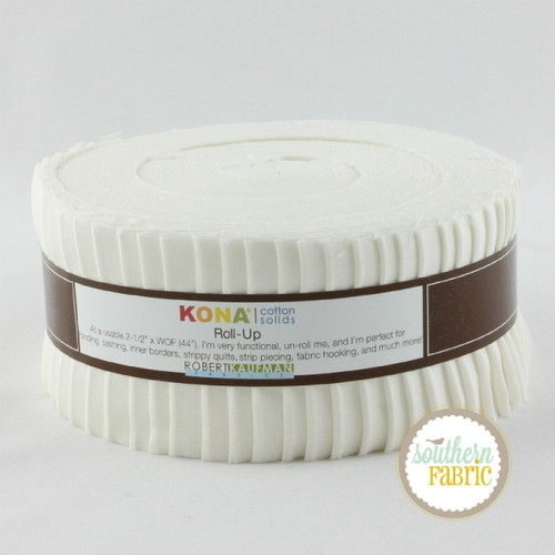 Kona Cotton White - Jelly Roll (40 pcs) for Robert Kaufman (RU-190-40)