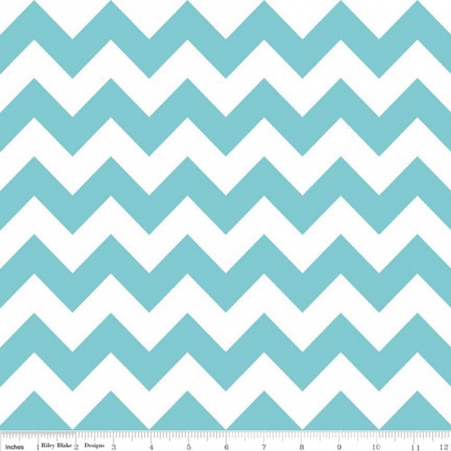 Chevrons Medium - Chevron - Aqua (C320-20) by The RBD Designers for Riley Blake PRICE PER HALF YARD