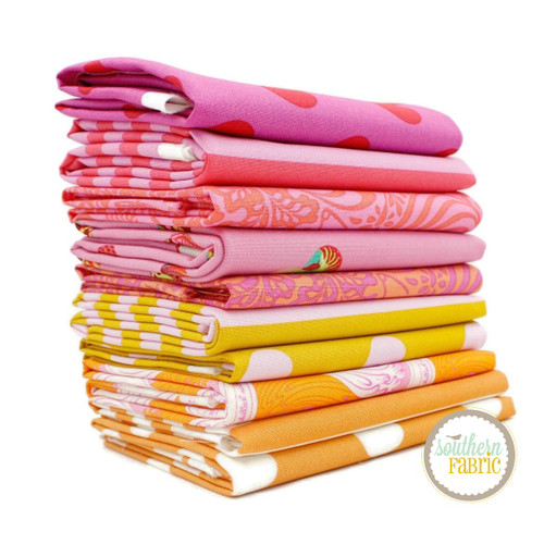 Tula Pink - Orange and Pink Half Yard Bundle (10 pcs) by Tula Pink for Free Spirit (TP.OA.HY)