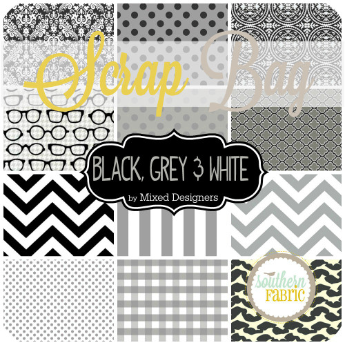 Black, Grey and White Scrap Bag (approx 2 yards) by Southern Fabric (BL.SB)