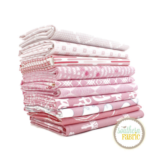 Pink Fat Quarter Bundle (10 pcs) by Mixed Designers for Southern Fabric