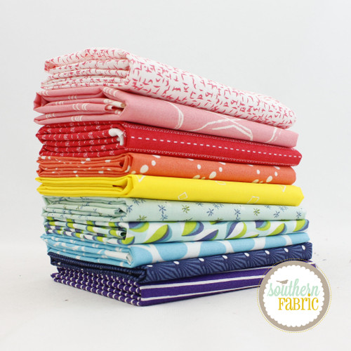 Rainbow Fat Quarter Bundle (10 pcs) by Mixed Designers for Southern Fabric