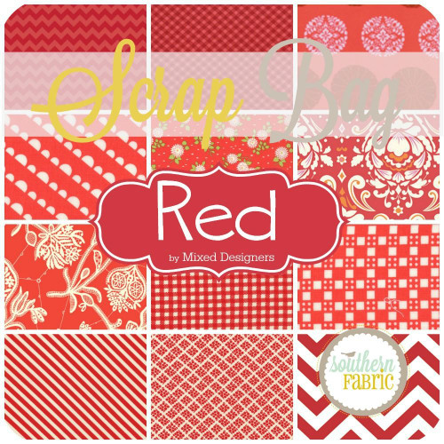 Red Scrap Bag (approx 2 yards) by Mixed Designers for Southern Fabric
