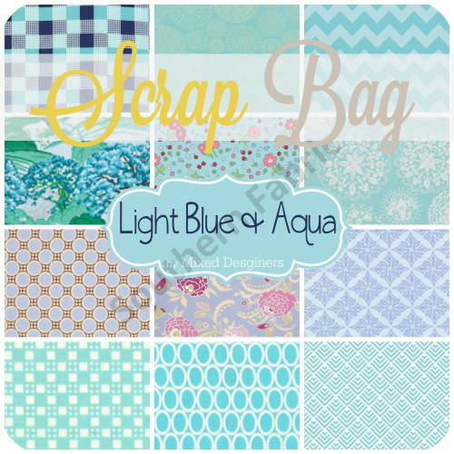 Light Blue Aqua Scrap Bag (approx 2 yards) by Mixed Designers for Southern Fabric