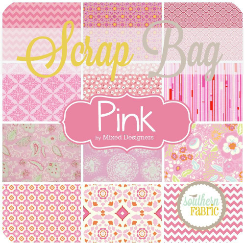 Pink Scrap Bag (approx 2 yards) by Mixed Designers for Southern Fabric (PI.SB)