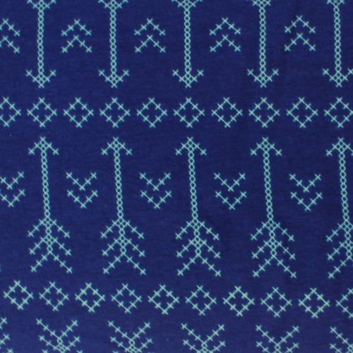 Arrows - Blue - Knit Fabric by Girl Charlie  PRICE PER HALF YARD