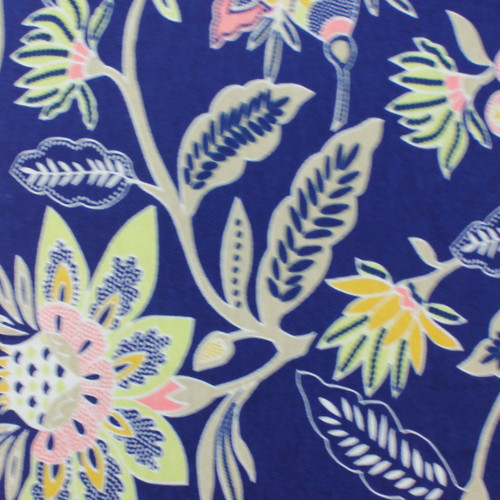 Flowers - Blue - Knit Fabric by Girl Charlie  PRICE PER HALF YARD