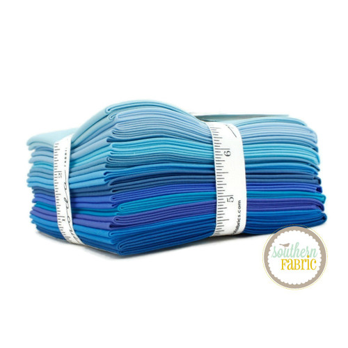 Bella Solids - Blue Fat Quarter Bundle (12 pcs) by Moda for Moda (9900AB 124)