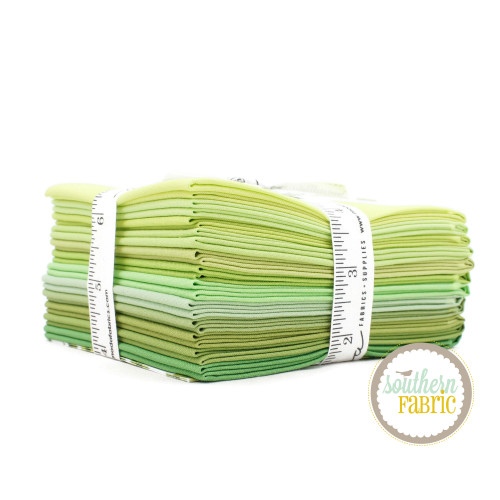 Bella Solids - Green Fat Quarter Bundle (12 pcs) by Moda for Moda (9900AB 123)