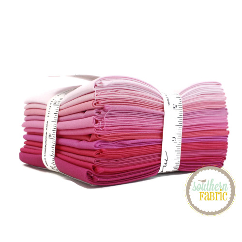 Bella Solids - Pink Fat Quarter Bundle (12 pcs) by Moda (9900AB 125)