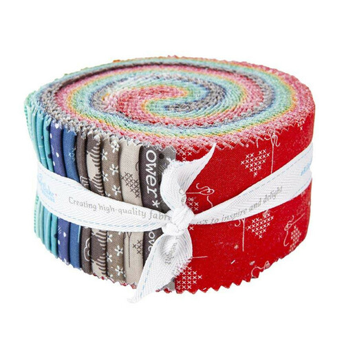 Bee Basics & Backgrounds Jelly Roll (40 pcs) by Lori Holt for Riley Blake (RP-6401-40)