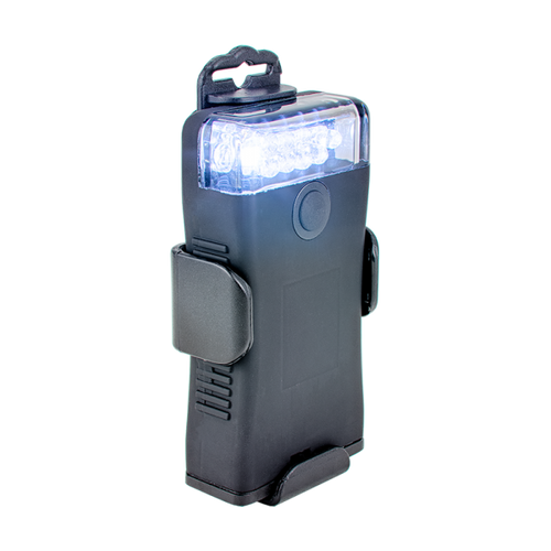 White LED utility light with black exterior and removable clip