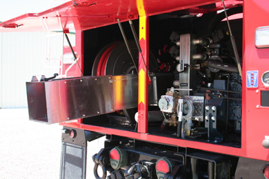 sidney-hemit-back-inside-view refurbished truck for Sidney fire department