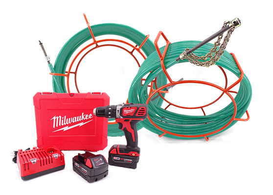 CustomEyes (CE38KIT100M) 100' Cyclone with Milwaukee Drill Set