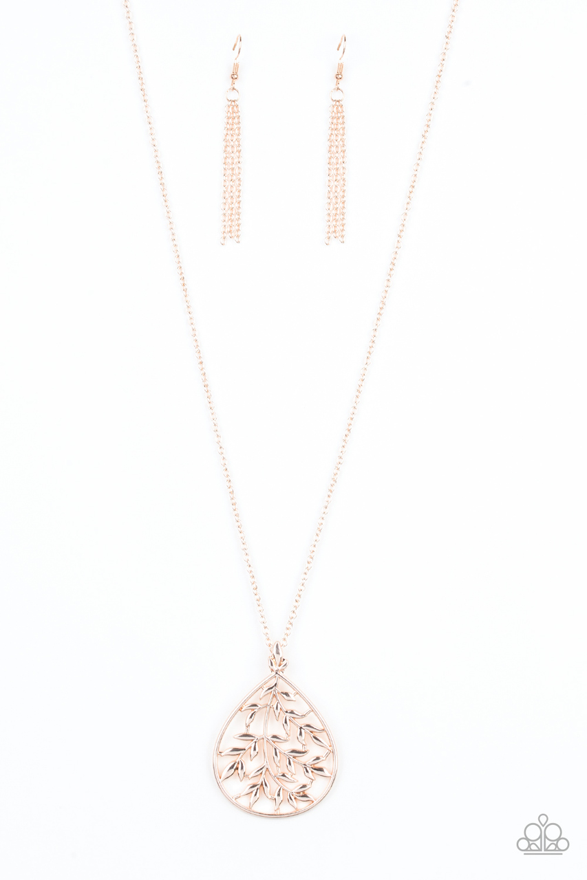 Bough Down Rose Gold Paparazzi Necklace 5 Dollar Frosting