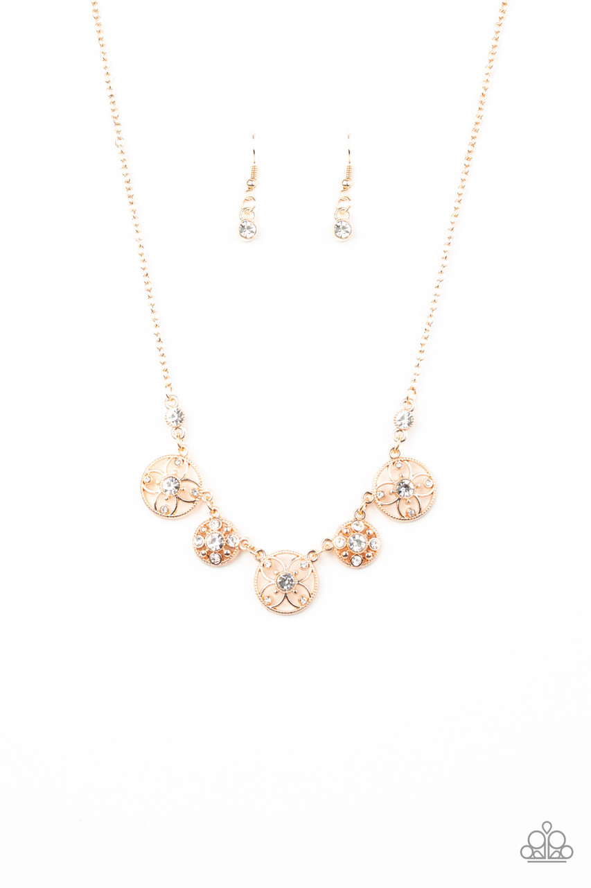 Floral Florescence Rose Gold Paparazzi Necklace 5 Dollar Frosting