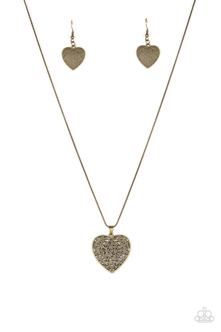 Look Into Your Heart Brass Paparazzi Necklace 5 Dollar Frosting