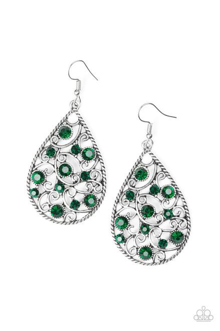 92d0ffdbe Flirty Finesse Green Paparazzi Earrings - 5 Dollar Frosting