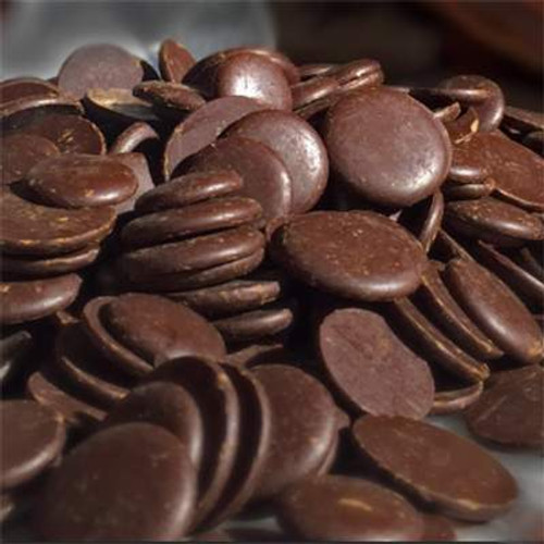 Vegan Belgian Dark Chocolate is excellent for all bulk wholesale chocolate uses. Our most popular European chocolate for truffle making and chocolate bar production. In the shape of Belgian chocolate morsels called callets. Dark chocolate flavor but still smooth and rich with an even melt.
