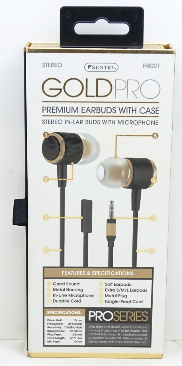 23e266056d5 ... Sentry Gold Pro Metal Earbuds with In-Line Mic & Deluxe Case, Black,