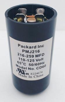 Packard Start Capacitor, Round, 216-259 Mfd., 110-125 Volt, PMJ216, 216-125