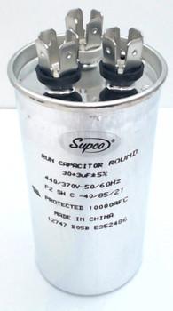 Dual Run Capacitor, Round, 30 + 3 Mfd., 440 Volt, CD30+3X440R