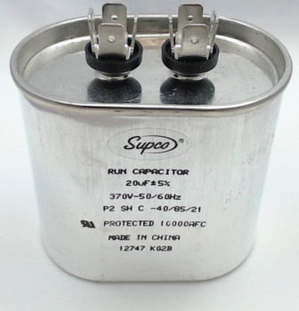 Run Capacitor, Oval, 20 Mfd., 370 Volt, CR20X370