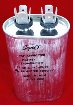 Run Capacitor, Oval, 15 Mfd., 370 Volt, CR15X370
