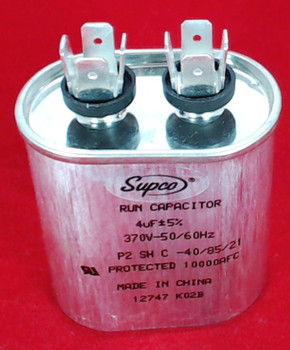 Run Capacitor, Oval, 4 Mfd., 370 Volt, CR4X370