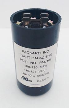 Packard Start Capacitor, Round, 108-130 Mfd., 110-125 Volt, PMJ108-1, 108-125