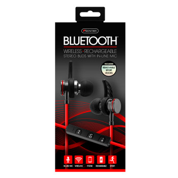Sentry Bluetooth, Rechargeable, Metal Ear Buds with Built In Microphone, BX250RD