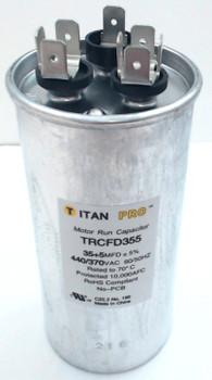 Packard Titan Pro Run Capacitor, Round, 35+5 Mfd, 440-370V, TRCFD355
