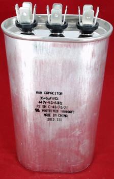 Dual Run Capacitor, Oval, 35 + 5 Mfd., 440 Volt, CD35+5X440