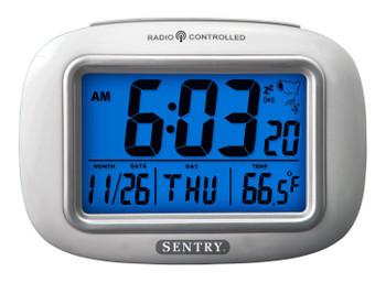 Sentry Big Screen, Weather Atomic Clock Blue Backlit LCD, Calendar, ATC30