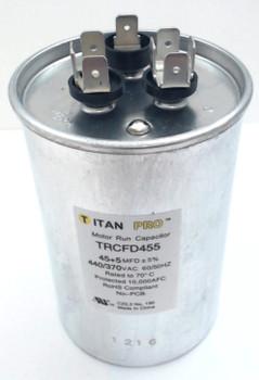 Packard Titan Pro Run Capacitor, Round, 45+5 Mfd, 440-370V, TRCFD455