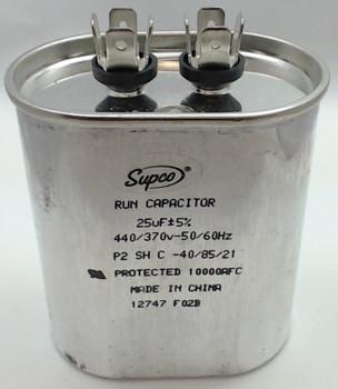 Run Capacitor, Oval, 25 Mfd., 440 Volt, CR25X440