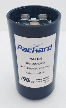Packard Start Capacitor, Round, 189-227 Mfd., 110-125 Volt, PMJ189, 189-125