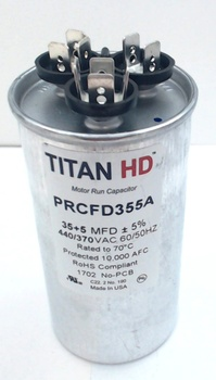 Packard Titan HD Run Capacitor, Round, 35+5 Mfd, 440-370V, PRCFD355A