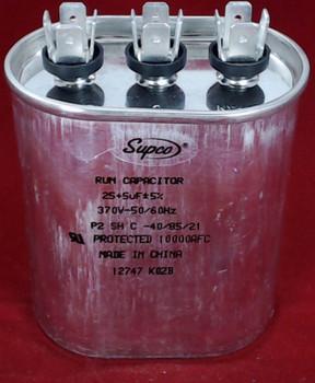 Dual Run Capacitor, Oval, 25 + 5 Mfd., 370 Volt, CD25+5X370