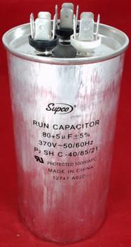 Dual Run Capacitor, Round, 80 + 5 Mfd., 370 Volt, CD80+5X370R
