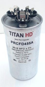 Packard Titan HD Run Capacitor, Round, 45+5 Mfd, 440-370V, PRCFD455A
