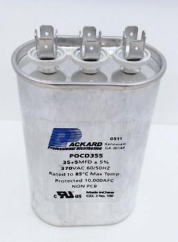 Packard Dual Run Capacitor, Oval, 35+5 Mfd., 370 Volt, POCD355, 35/5-370
